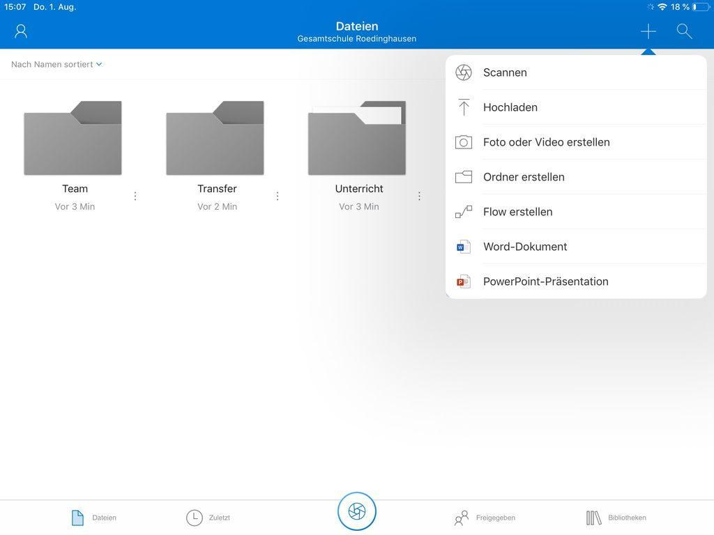 "OneDrive - ""+""-Menü, um z. B. Ordner zu erstellen"